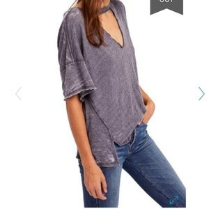 Free People Jordon Cut Out V neck Tee sz M